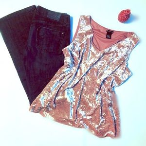 New Directions pink velvet tank size large